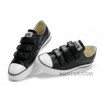 Free Shipping Black Leather CONVERSE All Star 3 Strap Velcro Black Sneakers