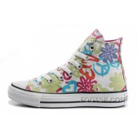 Womens CONVERSE All Star Peace And Love White Canvas Shoes Authentic