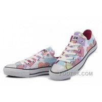 Black Friday Deals CONVERSE Women Hearts Colorful Print White Canvas Sneakers