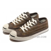 For Sale CONVERSE Plaid Jack Purcell Maroon Canvas Brown Leather