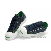Hot CONVERSE Jack Purcell Blue Denim Jean With Green Serif Canvas Shoes