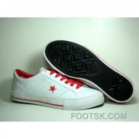 Discount Womens Converse One Star Leather 3 Strap Velcro Red White Shoes