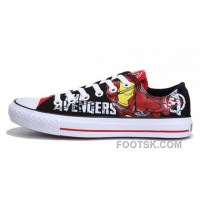 Iron Man CONVERSE Printed The Avengers Comics Black Red Shoes Authentic