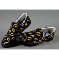 Top Black CONVERSE Slip On Yellow Batman Logo Print All Star Canvas Trainers