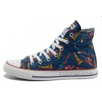 For Sale CONVERSE Superman Comics Heros Printed Blue Canvas Sneakers