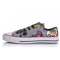 Grey CONVERSE X Gorillaz Graffiti Print Chuck Taylor All Star Tops Canvas Shoes For Sale