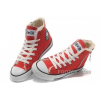 Free Shipping Red CONVERSE Winter Chuck Taylor All Star Soft Nap Shearling Inside Zipper Canvas Sneakers