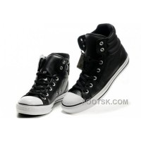 Hot New Embroidery Black Leather CONVERSE Padded Collar Chuck Taylor All Star Winter Boots