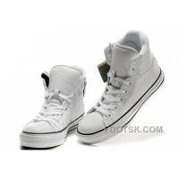 White Embroidery CONVERSE Padded Collar Chuck Taylor All Star Leather Winter Boots Super Deals