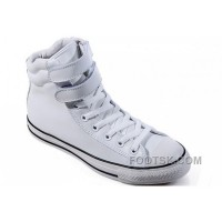 Hot White Embroidery CONVERSE Padded Collar Chuck Taylor All Star Double Buckles Velcro Leather Winter Boots