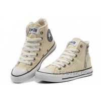 Lastest CONVERSE Winter Chuck Taylor All Star Beige Soft Nap Shearling Inside Zipper Canvas Sneakers