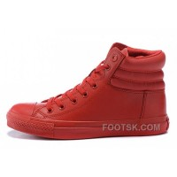 Online All Star Red High CONVERSE Embroidery Leather Padded Collar Winter