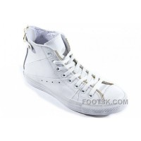 For Sale White Leather CONVERSE Double Zipper John Varvatos Oxford Winter Chuck Taylor All Star High Tops Sneakers
