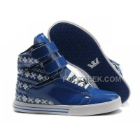 Discount Supra TK Society Blue White Snowflake Men's Shoes