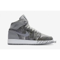 "Free Shipping Air Jordan 1 High GS ""All-Star"" Wolf Grey/Metallic Silver-White"