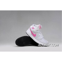 Girls Air Jordan 1 Grey Pink White Shoes New Release
