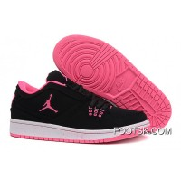 Free Shipping Girls Air Jordan 1 Low Black Pink Shoes
