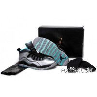 "New Style Girls Air Jordan 10 ""Lady Liberty"" Cement Grey/Black-Tropical Teal Remastered"