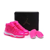 "2016 Girls Air Jordan 11 ""Pink Everything"" Pink White Shoes Online Super Deals"