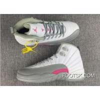 Air Jordan 12 GS White-Wolf Grey/Vivid Pink Best