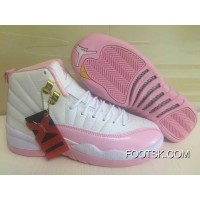 Air Jordan 12 GS White Pink Shoes On For Sale