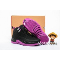 "2016 Newest Air Jordan 12 GS ""Hyper Violet"" Black/Metallic Gold Star-Hyper Violet Cheap To Buy"