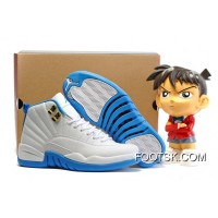 Best 2016 Air Jordan 12 GS White University Blue Melo
