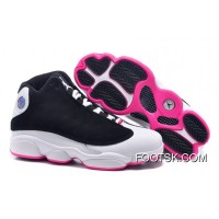 "2016 Girls Air Jordan 13 Retro ""Hyper Pink"" Black/Hyper Pink-White Discount"