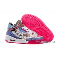 2016 Girls Air Jordan 3 School Season Brown Blue Pink Shoes Super Deals
