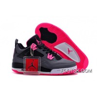For Sale 2016 Girls Air Jordan 4 Black Grey Hyper Pink