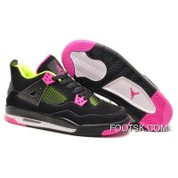 Girls Air Jordan 4 Retro Black Suede Light Green Pink Online