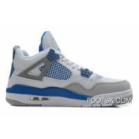 Air Jordans 4 Retro White/Military Blue-Neutral Grey Online