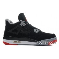 """Bred"" Air Jordan 4 Black/Cement Grey-Fire Red Discount BDiXE"