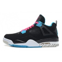 """South Beach"" Air Jordan 4 Black/Vivid Pink-Dynamic Blue-White Authentic Ewziba"