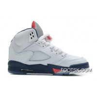 Air Jordans 5 Retro White/Varsity Red-Obsidian New Style