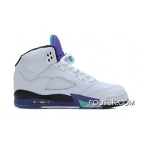 Air Jordans 5 Retro White/New Emerald-Grape-Ice Blue Copuon Code