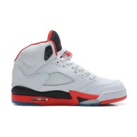 Air Jordans 5 Retro White/Fire Red-Black New Style