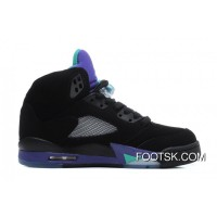 Air Jordans 5 Retro Black/New Emerald-Grape Ice Online