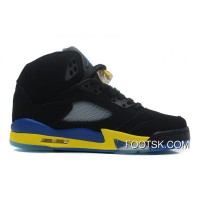"Discount Air Jordans 5 Retro ""Shanghai Shen"" Black/Varsity Maize-Varsity Royal-Black"