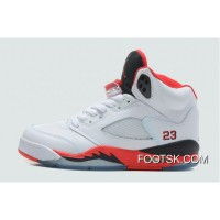 2013 'Fire Red' Air Jordan Retro V (5) White/Fire Red-Black Free Shipping DFMP7a