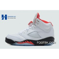 2013 'Fire Red' Air Jordan V (5) White/Fire Red-Black New Style XmyXZ
