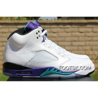 "2013 ""Grape"" Air Jordan 5 White/New Emerald-Grape-Ice Blue Cheap To Buy Ms3c5X"