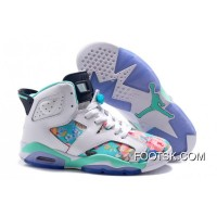 "2016 Girls Air Jordan 6 ""Floral Print"" White Blue Shoes Discount"