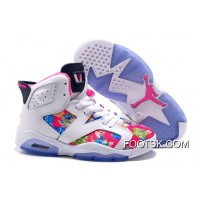 "2016 Girls Air Jordan 6 ""Floral Print"" White Pink Shoes Copuon Code"