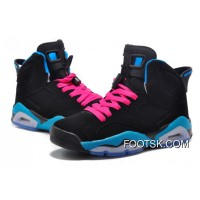"Girls Air Jordan 6 Retro ""South Beach"" Black/Dynamic Blue-White-Vivid Pink Top Deals"