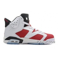 "Air Jordans 6 Retro ""Carmine"" White/Carmine-Black Discount"