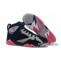 "Girls Air Jordan 7 ""Fuchsia Flash"" Black/Sport Fuchsia Pink-Grey Copuon Code"