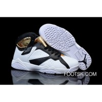 "New Style Girls Air Jordan 7 ""Champagne"" White Gold Black Shoes"