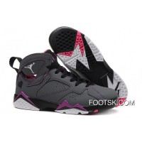 "Girls Air Jordan 7 ""Valentines Day"" Dark Grey/White-Black-Fuchsia Flash Sale Discount"