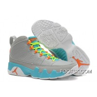 Girls Air Jordan 9 Retro Wolf Grey/Neon Orange-Mint Candy Online
